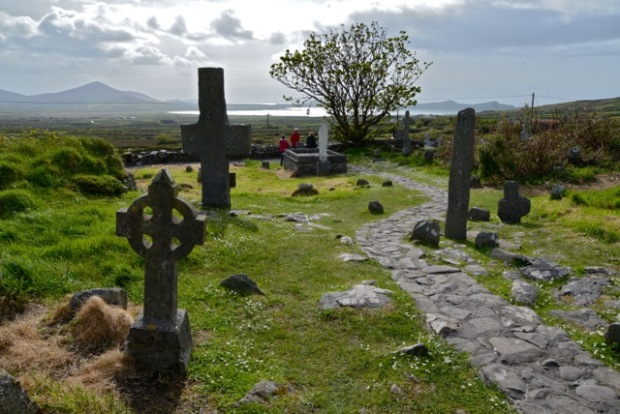 The graveyard of the 12th century Kilmalkedar church on the Cosan na Naomh